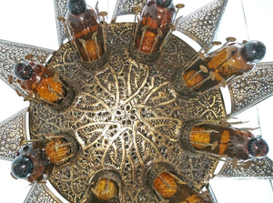 BR121 Large Brass Moroccan Light Fixture with Mouth Blown Amber Glass Inserts