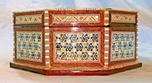 Load image into Gallery viewer, J70 Gorgeous Mother of Pearl Mosaic Trinket Octagonal Egyptian Chest Jewelry Box