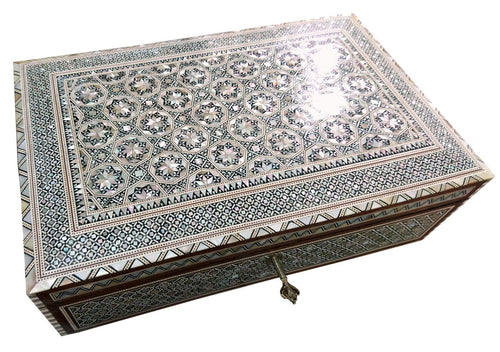 J81 XXL Mother of Pearl Mosaic Chest Egyptian Rectangular Jewelry Box