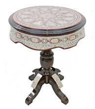 Load image into Gallery viewer, W147 Large Tall Round Mother of Pearl Inlay Beech Wood End Side Oriental Table