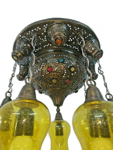 BR443 Vintage Reproduction Moroccan Flush Ceiling Chandelier Light Fixture Amber Mouth Blown Glass