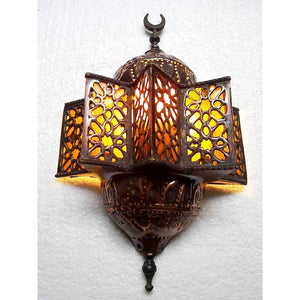 BR120 Antique Islamic Style Brass Wall Sconce Amber Glass