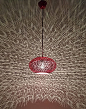 Load image into Gallery viewer, B260R Round Pie Tin Moroccan Red Lampshade Hanging Lamp Peacock Tail Shadow