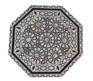 W87 Mother of Pearl Moroccan Corner Wood Octagonal Table Black End Coffee
