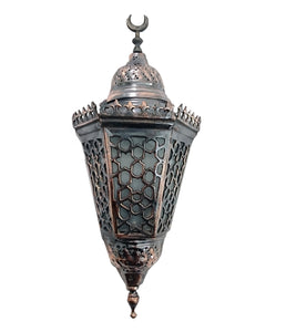 BR408 Antique Style Cast Brass Frosted White Glass Egyptian Net Wall Sconce