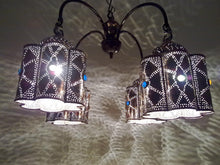 Load image into Gallery viewer, BR44 Vintage Reproduction Egyptian Jeweled Spider Brass Chandelier