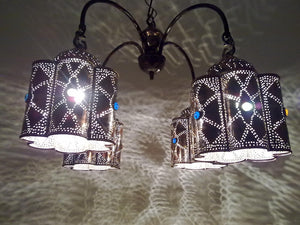 BR44 Vintage Reproduction Egyptian Jeweled Spider Brass Chandelier