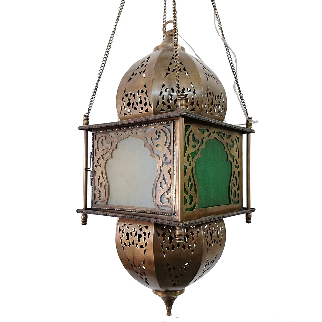 BR392 Vintage Reproduction Square Moroccan/Egyptian Art Hanging Lantern/Lamp