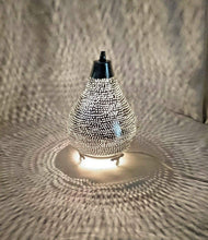 Load image into Gallery viewer, BM14 Silver Plated Moroccan Living Room Home Decor Filigrain Night Table Lamp