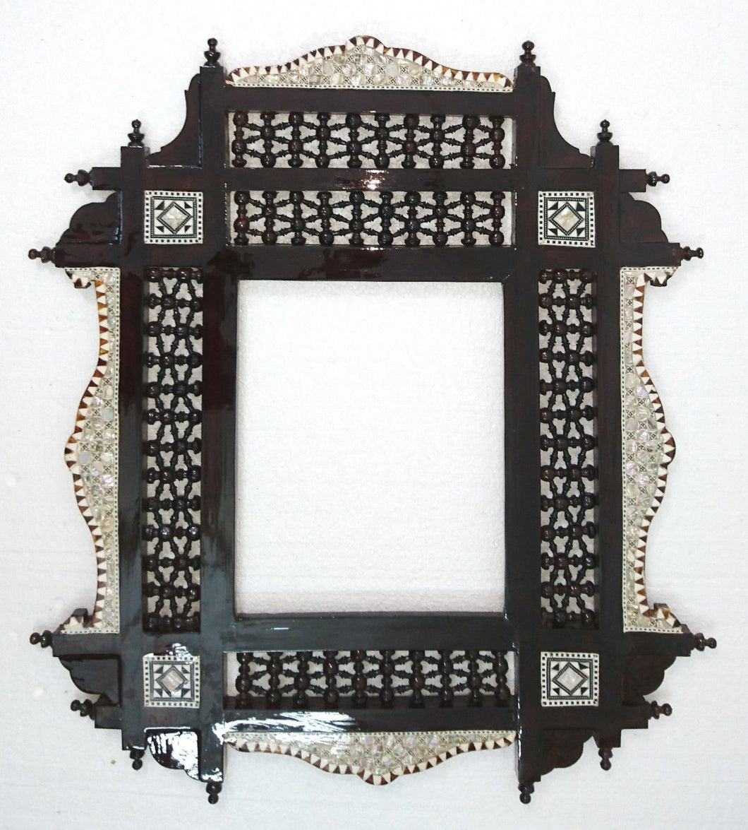 W100 Dark Red Brown Arabesque Mother of Pearl Wood Mirror Rectangular Frame