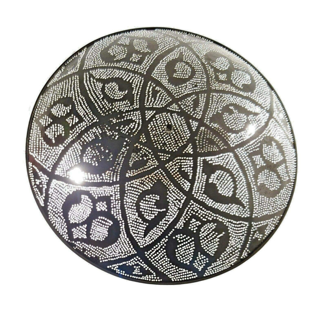 BM16 Circle Round Tin Moroccan Silver Flush Mount Ceiling Light Fixture LED Lamp