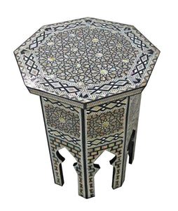 W104 Mother of Pearl Octagonal Corner Wood Table Arabesque End Coffee Trinket