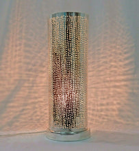 Load image into Gallery viewer, BM17 Handmade Silver Plated Tin Cylinder Filigrain LED Table/Floor Lamp