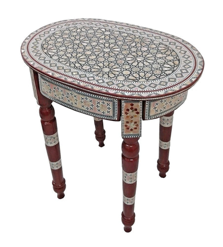 W153 Mother of Pearl Egyptian Corner Wood Oval Brown Table End Coffee