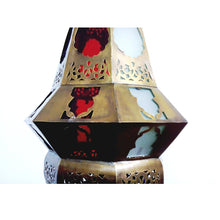 Load image into Gallery viewer, BR358 Vintage Reproduction Octagonal Moroccan / Egyptian Art Brass Hanging Lamp