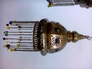 BR349 Vintage Reproduction Arc Beaded Pendant Brass Chandelier