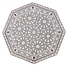 Load image into Gallery viewer, W155 BR Mother of Pearl Moroccan Corner Wood Octagonal Table Brown End Coffee