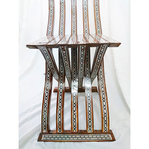 W85 Stunning Mother of Pearl Inlaid Folding Wood Brown Chair