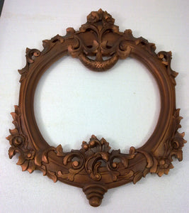 W45 Handcrafted Carved Wood Rustic Copper Floral Wall Mounting Mirror Frame