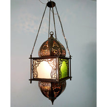 Load image into Gallery viewer, BR392 Vintage Reproduction Square Moroccan/Egyptian Art Hanging Lantern/Lamp
