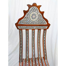 Load image into Gallery viewer, W85 Stunning Mother of Pearl Inlaid Folding Wood Brown Chair