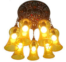 Load image into Gallery viewer, BR443 Vintage Reproduction Moroccan Flush Ceiling Chandelier Light Fixture Amber Mouth Blown Glass