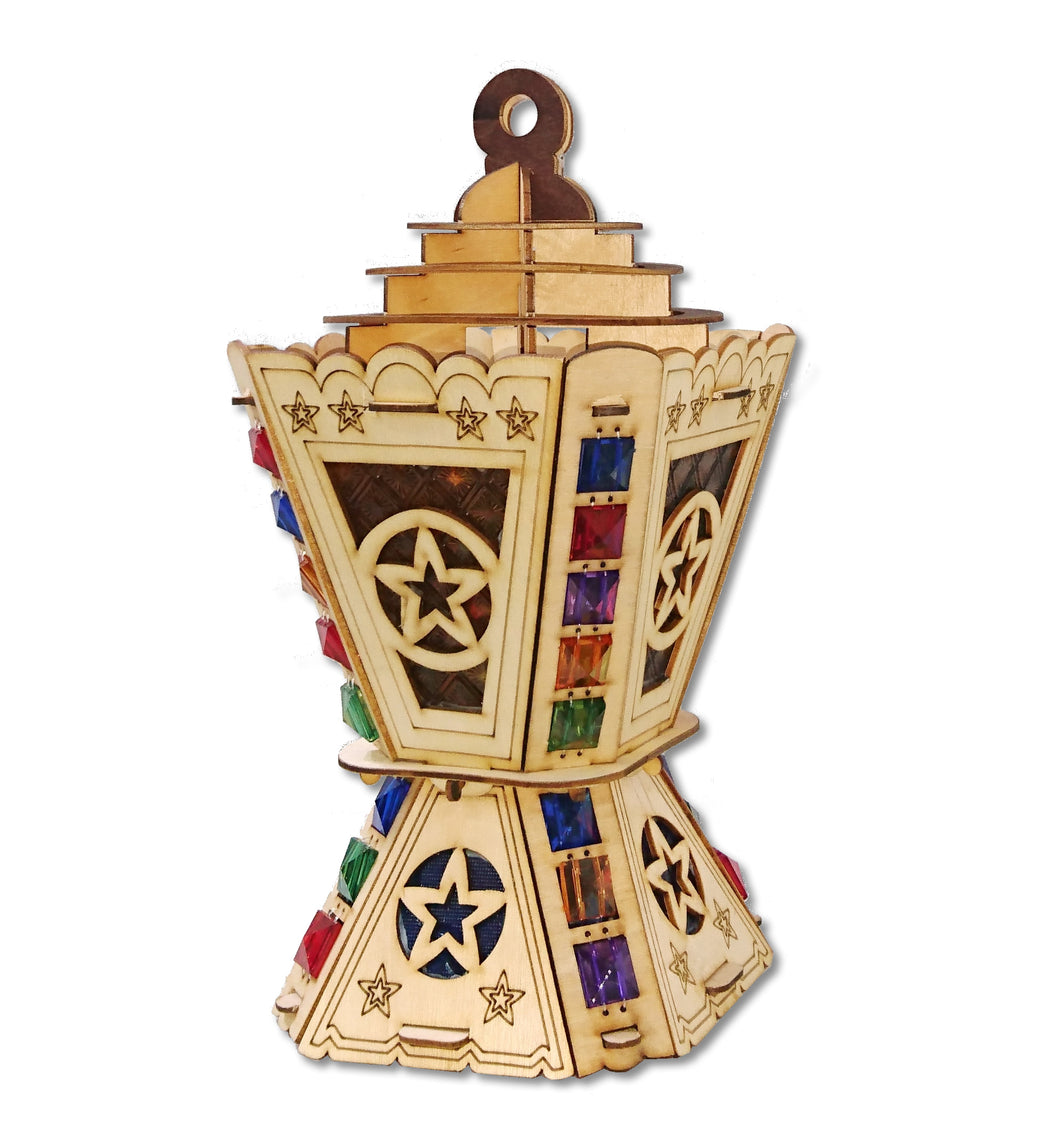 AA117 Ramadan Decor Square Laser Cut Jeweled Lantern with Multi-Colored LED Flashing Lights for Kids