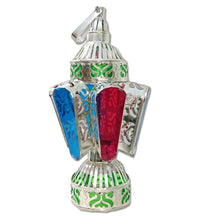 Load image into Gallery viewer, AA118 Egyptian Ramadan Silver Tin Candle Holder Lantern Colored Glass