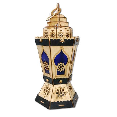 AA120 Ramadan Decor Hexagonal Laser Cut LED Lantern with Multi-Colored Flashing Lights for Kids