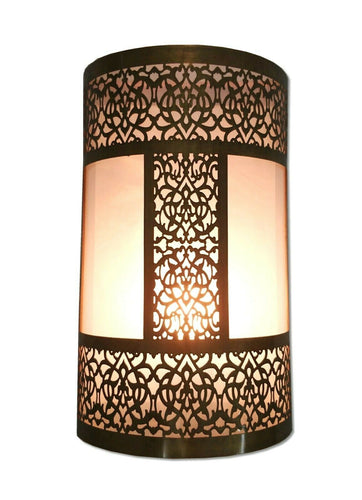 B296 Unique Moroccan Handmade Brass Wall Decor LED Light Fixture Sconce