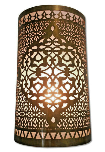 B297 Awesome Moroccan Oriental Handmade Brass Wall Decor LED Light Sconce