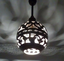 Load image into Gallery viewer, BR252 Handmade Vintage Brass Hanging Globe Lampshade Open Pattern