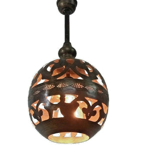 BR252 Handmade Vintage Brass Hanging Globe Lampshade Open Pattern