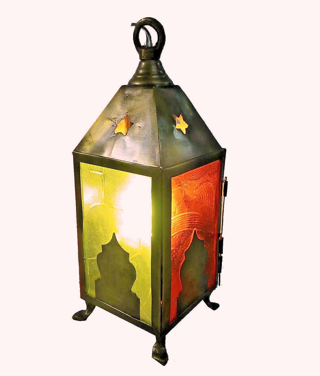 BR356 Egyptian Antique Style Squared Ramadan Lantern Candle Holder Table Lamp