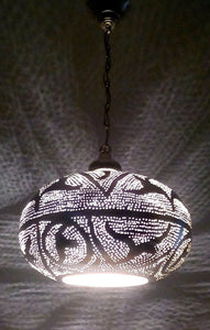 BR417R Round Pie Tin Moroccan Silver Lampshade LED Hanging Lamp