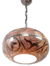 Load image into Gallery viewer, BR417R Round Pie Tin Moroccan Silver Lampshade LED Hanging Lamp