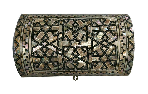 J42 Gorgeous Mother of Pearl Mosaic Trinket Egyptian Bombe Bombay Jewelry Box