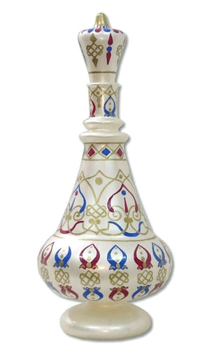LJ489 I Dream of Jeannie Hand Painted Mouth-Blown Glass Oxidized Ivory Bottle