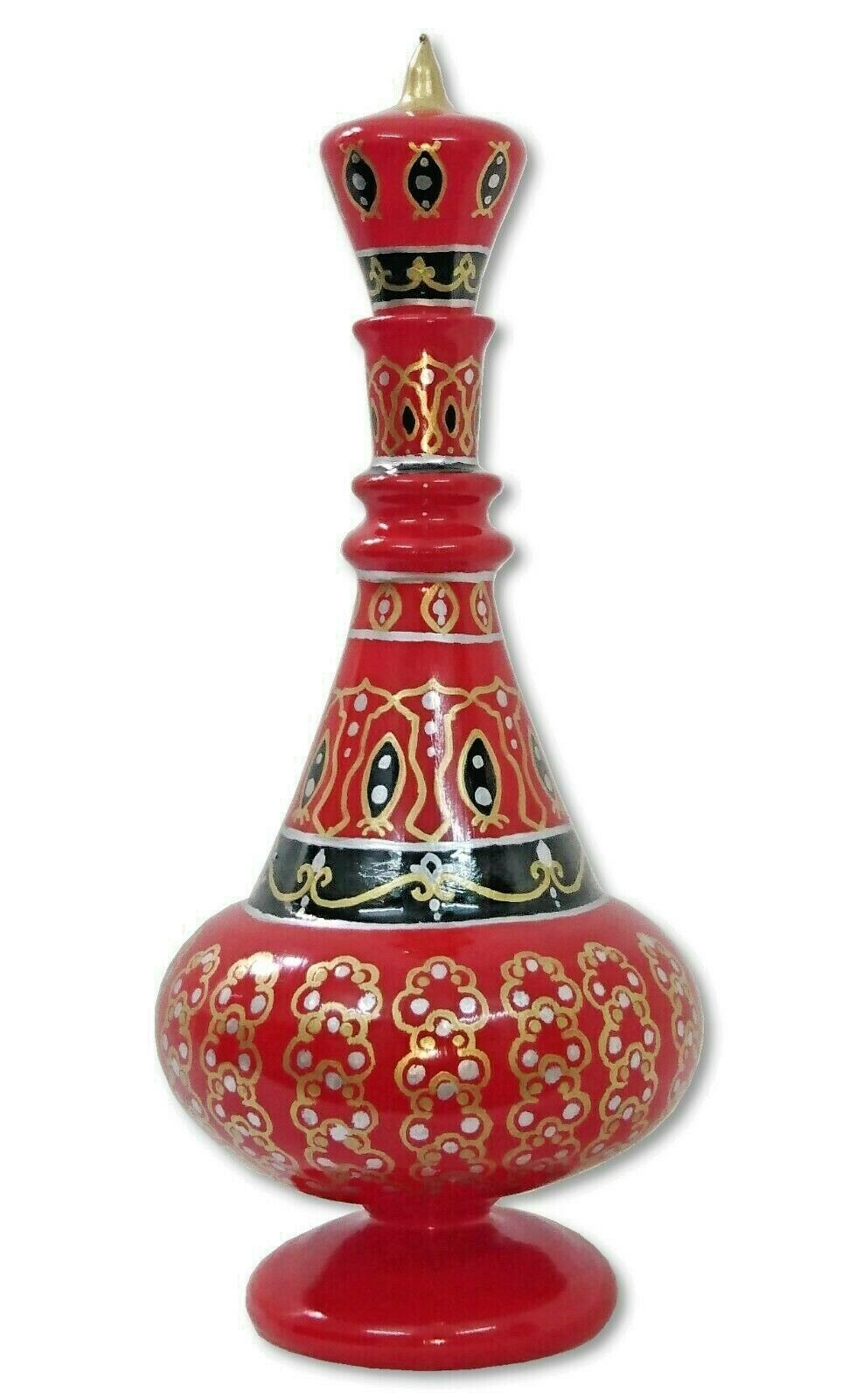 LJ498 I Dream of Jeannie Hand Painted MouthBlown Glass Reunion Red/Black Bottle
