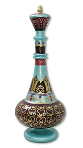 LJ554 Dream Jeannie Genie Hand Painted Mouth-Blown Glass Reunion Turquoise Bottle