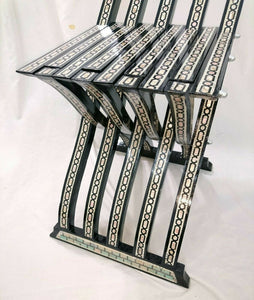 W154 Stunning Mother of Pearl Inlaid Folding Wood Black Chair