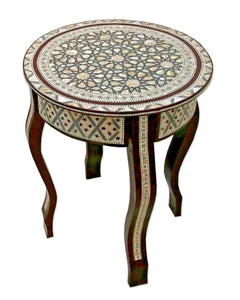 W162 BR Mother of Pearl Moroccan Corner Wood Round Table Brown End Coffee