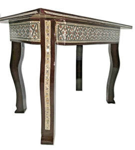 W164 Moroccan Handcraft Mother Pearl Large Rectangular Brown Coffee Side Table