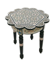 Load image into Gallery viewer, W165 Handmade Mother of Pearl Inlaid Art Egyptian Round/Rose End Side Table
