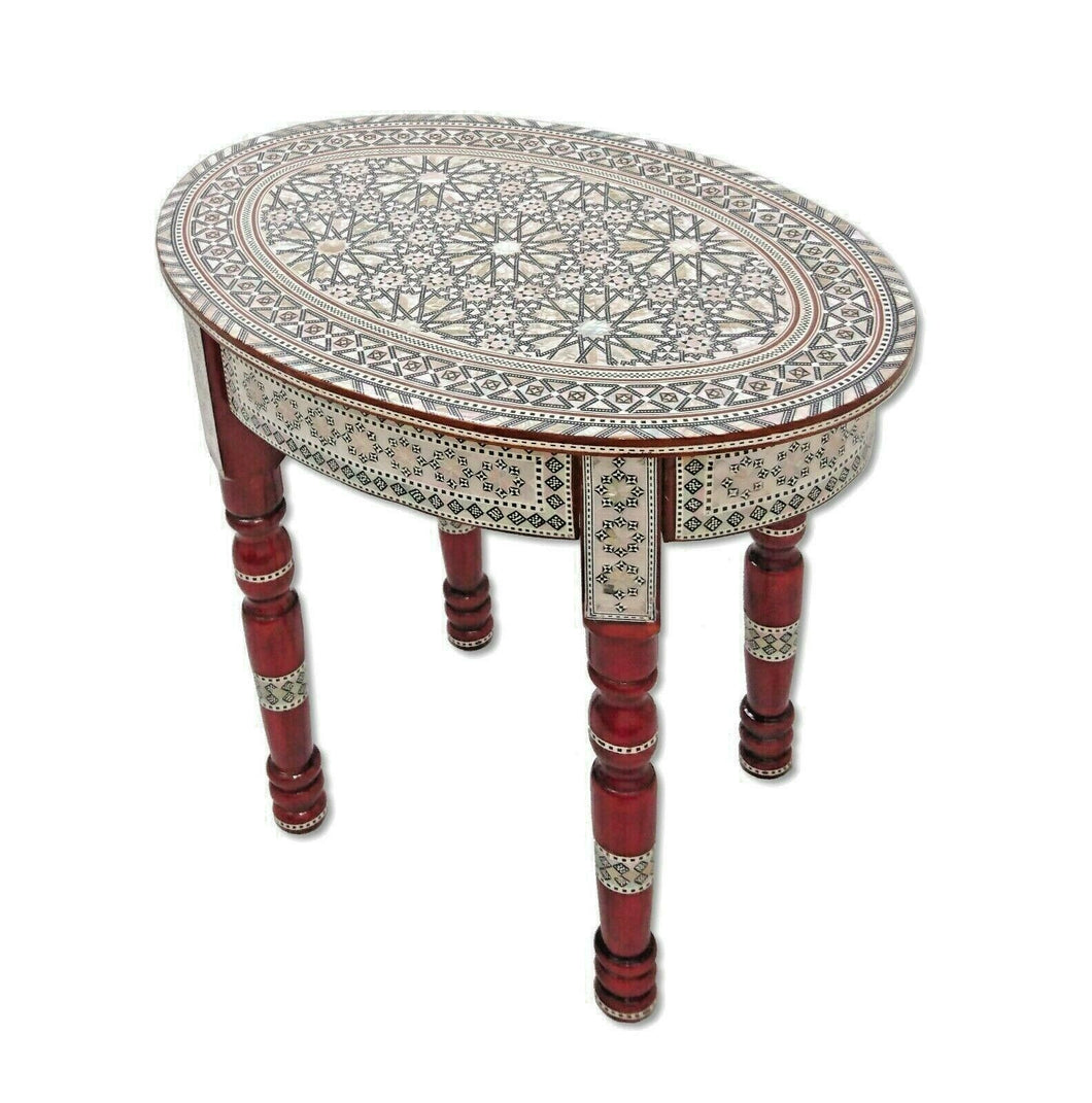 W40R Moroccan Handmade Mother of Pearl Inlaid Coffee Side End Oval Brown Table