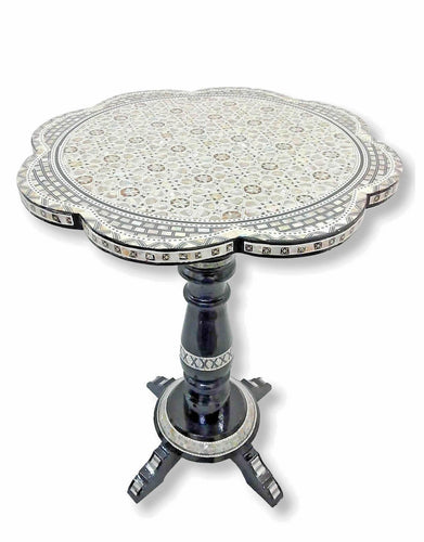 W76 Mother Of Pearl Handcrafted Inlay Art round Moroccan End Table