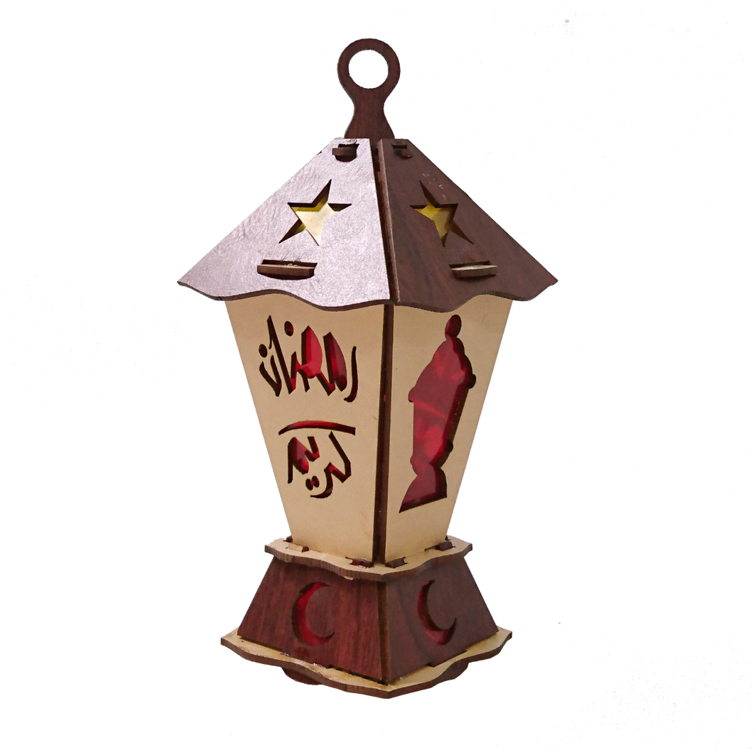 AA123 BOGO Ramadan Square Laser Cut Kids Wood Lantern with LED Flashing Light