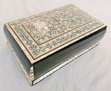 Load image into Gallery viewer, J86 Mother Of Pearl Mosaic Chest Egyptian Rectangular Brown Jewelry Box