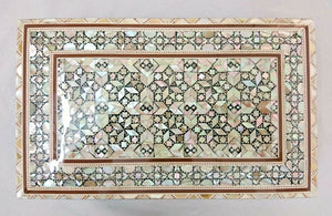 J86 Mother Of Pearl Mosaic Chest Egyptian Rectangular Brown Jewelry Box