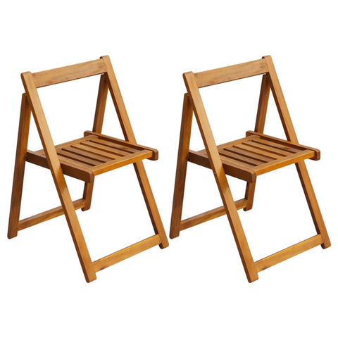 Folding Garden Chairs 2 pcs Solid Acacia Wood